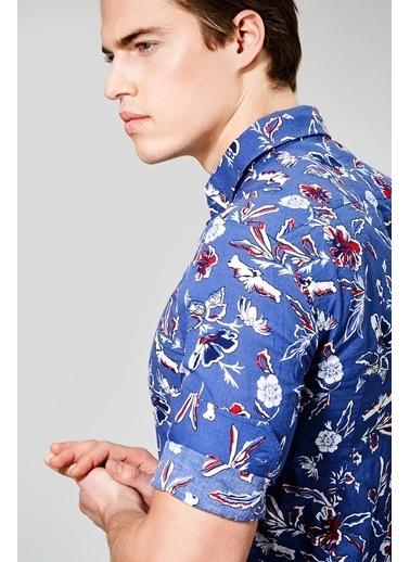Avva Desenli Uzun Kollu Gömlek İndigo